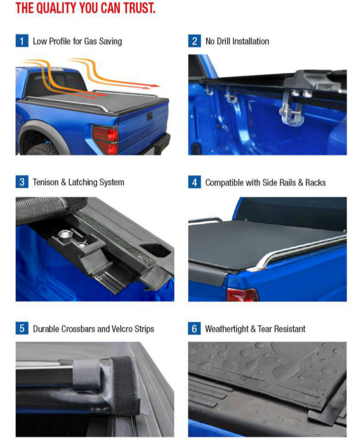 low Roll up Tonneau Cover f150 for 2009-2019  5.5' truck bed