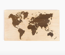 Natural Wood Color world map for home Deco