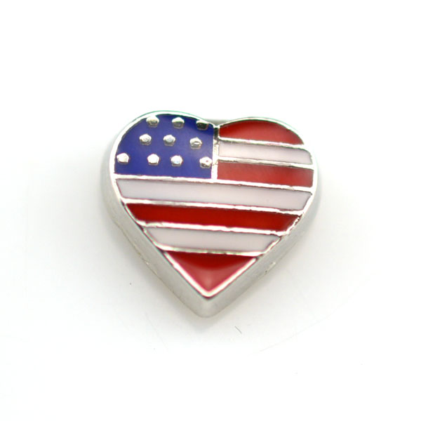 Heart floating American flag charms for living Memory locket