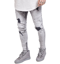 2017 Latest Design Mens Stone Slim Fit Ripped Jeans With Zippers