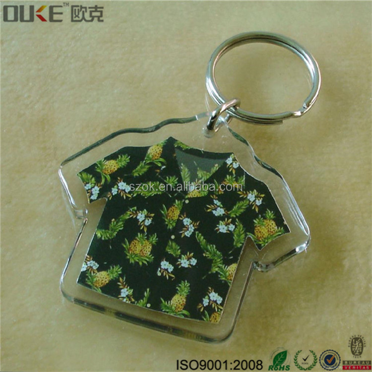 Custom logo clear plastic product rectangle acrylic photo keychain