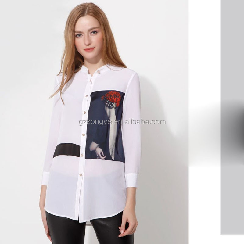 Sexy see-throung chiffon ladies shirt, Fashion long sleeve women causal tops