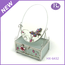 New Product HX-6432 Round Gifts Horse Enamel Trinket Box with mirror