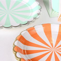 "Candy Stripes party tableware Scalloped Stripe 9"" Party Plates"