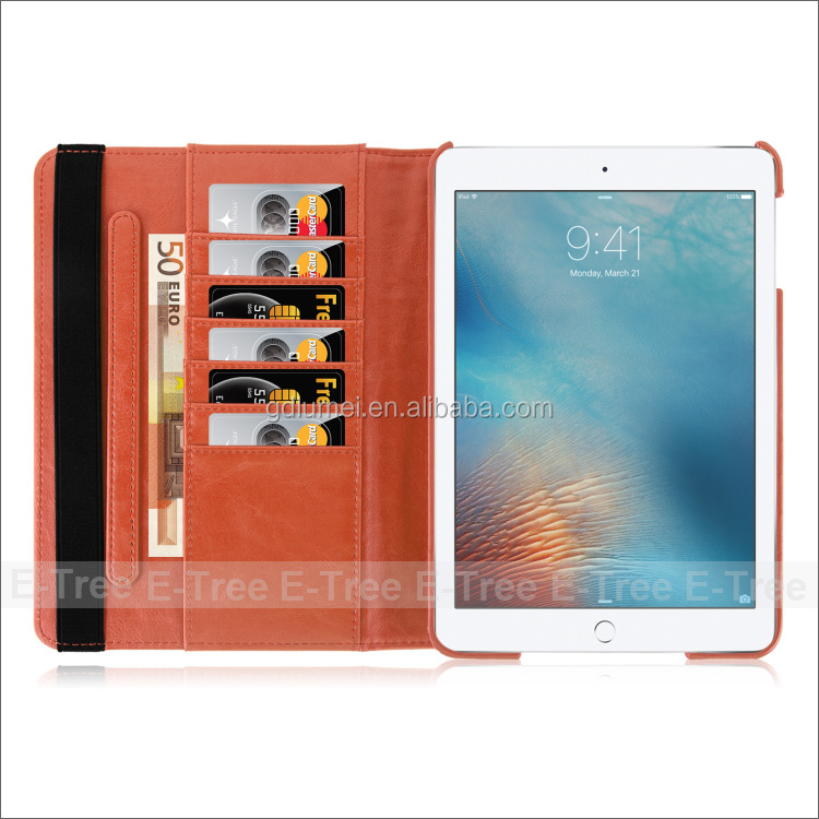 Book wallet Stand Type Flip PU Leather Wallet Case orange color for 7.9'' Apple ipad mini3