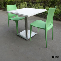 Cafeteria acrylic stone dining table, modern led dining table set