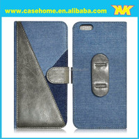 2015 Newest patchwork Jeans Leather Case with Credit card Slot for iPhone6