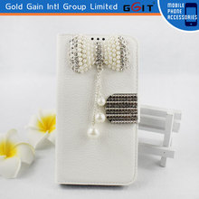 High Quality Litchi Pattern Leather Case for iPhone 4S with Luxury Butterfly Diamond