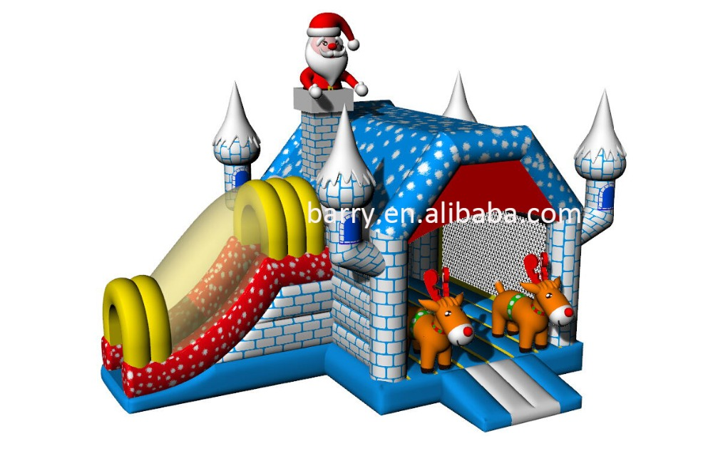 commercial inflatable christmas bouncer, christmas inflatable bouncer with slide