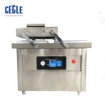 thermoforming double chamber pillow type  vacuum packing smoked chicken machine dz 400 2f