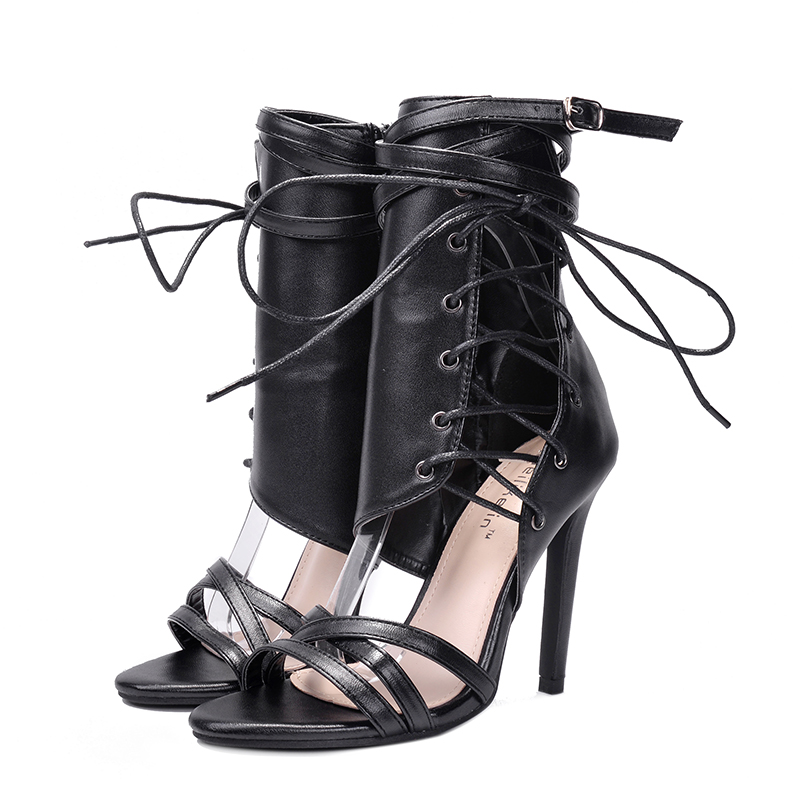 2018 new lace up stiletto fetish high heel ankle sandals <strong>boots</strong> for ladies woman