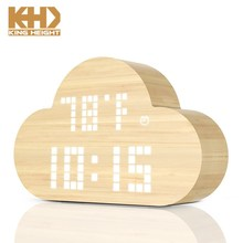 KH-0315 2018 New Arrival Cloud Shape Voice Control Colorful LED Wooden Electric Table Clock