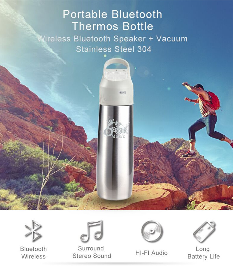 Hot Stainless Steel Water Bottle with Bluetooth Speaker