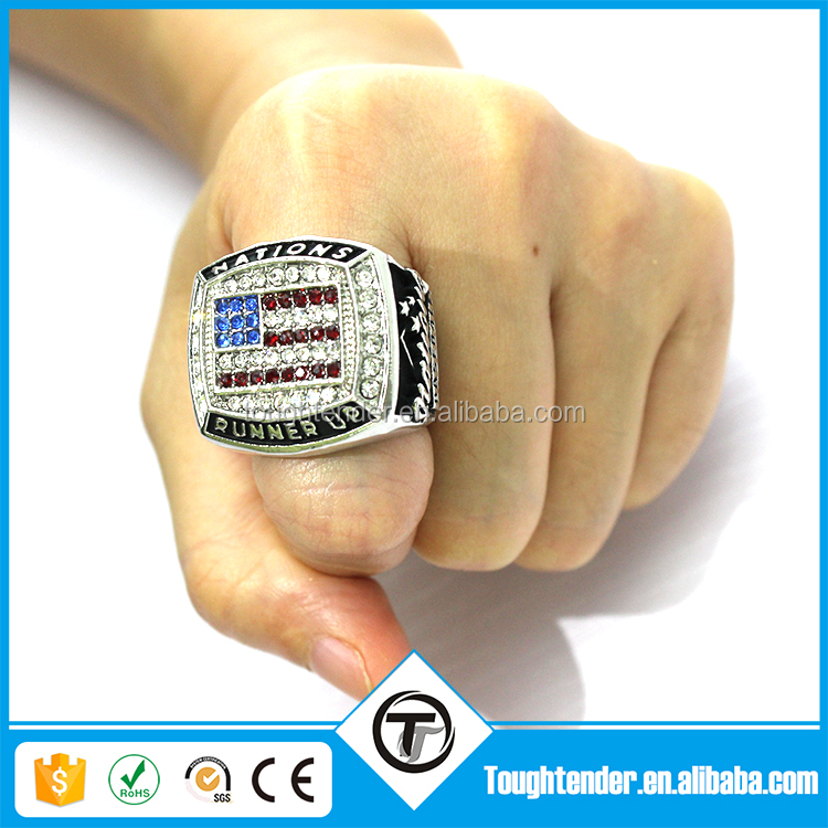 2017 hot sale gold plated jewellery -- custom design championship american flag ring