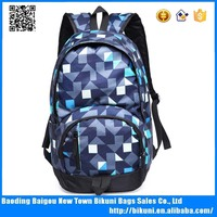 Fashion printed nylon hidden compartment backpack school bag with laptop compartment