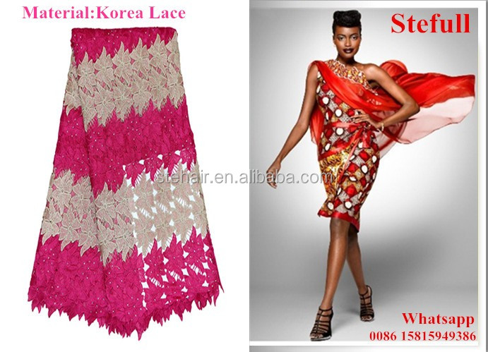 Stefull wax original african lace new design korea lace fabric embroidery stone
