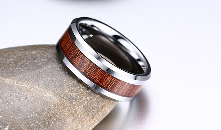 Wholesale Tungsten Mens Jewelry Ring, Simple New Design Wood Finger Ring For Boys Without Stones, Custom Blank Men's Ring