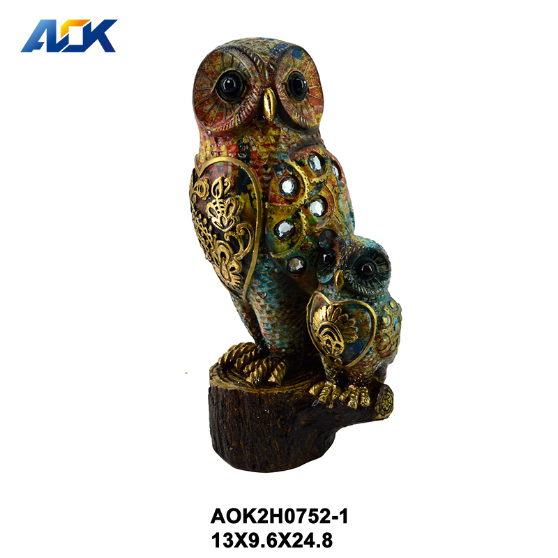 Decorative Lively Standing Art Decorative Resin Bird Statue