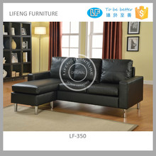 apartment size simple modern style corner sofa in black PU color, LF-350