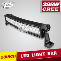 50inch 288w c ree offroad led light bar double row curved led light bar