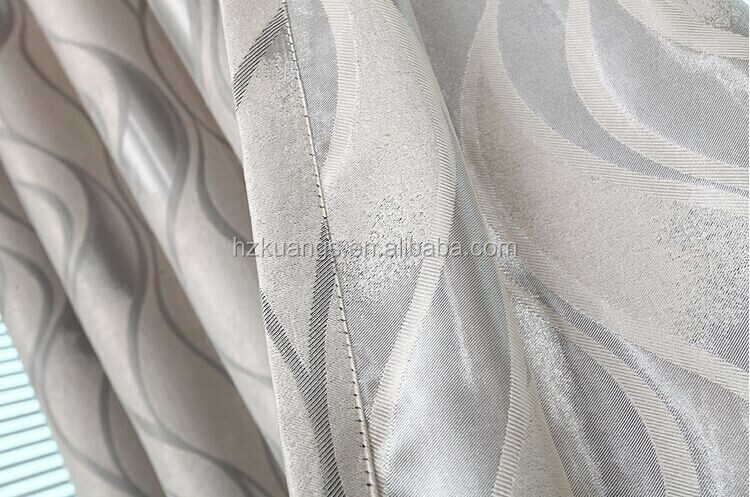 silver jacquard curtain fabric blackout fabric with stripe
