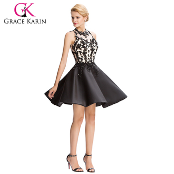 Grace Karin 2016 Sleeveless Satin Hollowed Back Short Ball Prom Dress GK000054-1