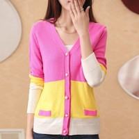 W6214 cheap wholesale striped lady fashion contrast color cardigans coat with peal buttons