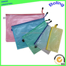transparent mesh pvc zipper file document bag