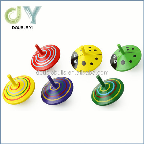 2016Bright striped eco painted wooden toy spinning top hand made original gifts colourful tops toy