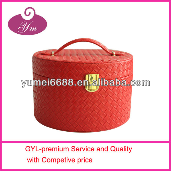 2014 hottest pu leather cosmetic case with two compartments