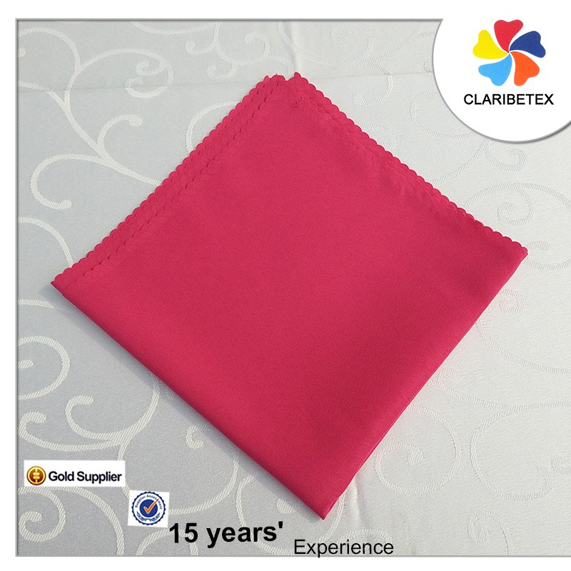 "Rose red 100% polyester plain dyed recycled napkins 17"" x 17"" damask"