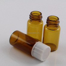 5ml Borosilicate Glass Bottle Screw Neck Amber Vial With White Cap