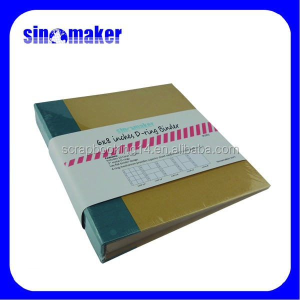 6X8 inches D-ring Binder with kraft cover and cloth book spine