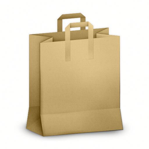 Customized Flat Handle Kraft Paper Shopping Bag