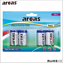 4packs 1.5v C zinc carbon battery, cr14 um2 carbon zince battery