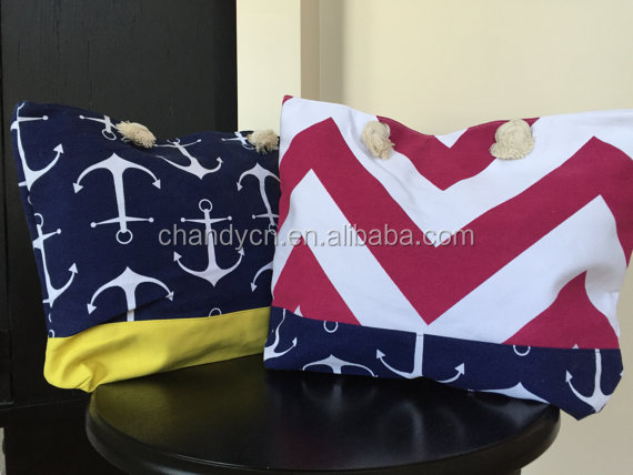Monogram Colorful Chevron Large Anchor Tote Beach Bag