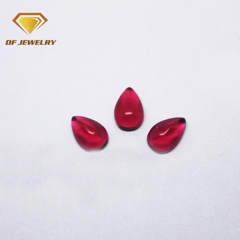 Alibaba hot sale pear 7x9mm red crystal glass gemstone flat bottom cabochon gems for jewelry