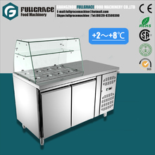 New Product glass showcase refrigerated salad bar with 2 doors refrigerator