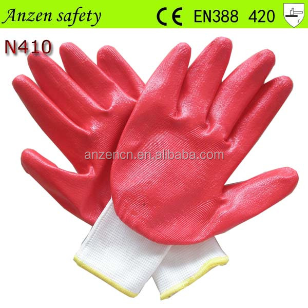 high quality work glove with nitrile coating from china