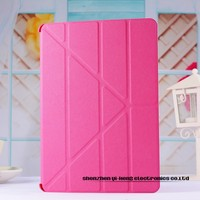 Fashion PU Leather Smart Cover With Stand Case for iPad Air PU Front + Plastic Back Cover for iPad5