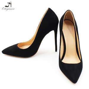 2018 Fashion Chengdu Shoes Factory Elegant Black Suede Pointy Toe Sexy 12cm Stiletto High Heel Shoes