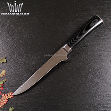 "Elegant 6""Damascus steel Boning knife with double forged Micarta handle"