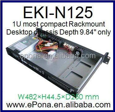 "1U Most Compact Rackmount Case / Desktop chassis Depth 9.84"" only for MINI ITX"