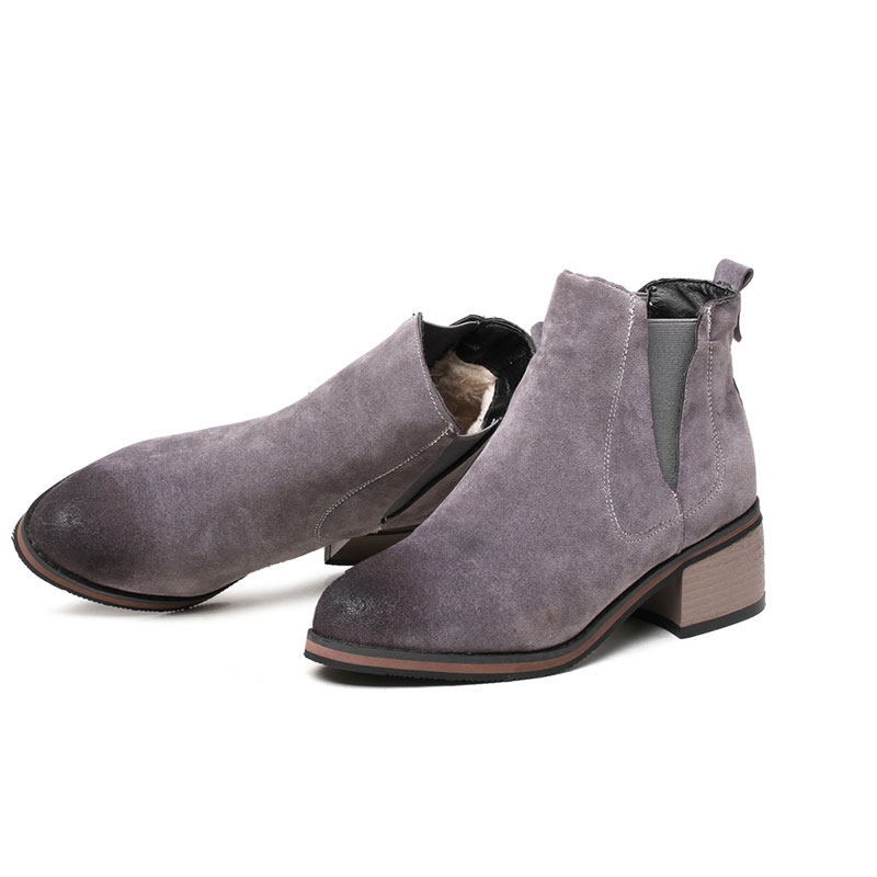 2018 Fashion Autumn Winter Women Chelsea <strong>Boots</strong> Gray Low Heel Women Ankle <strong>Boots</strong>