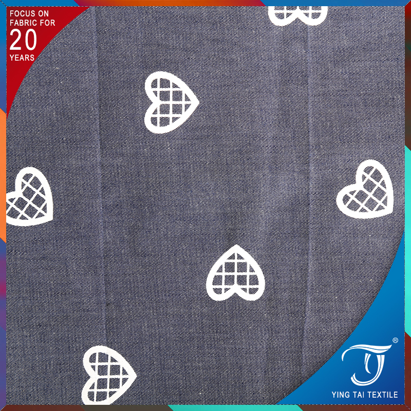 Simple pattern sweet heart pattern printed cotton denim fabric
