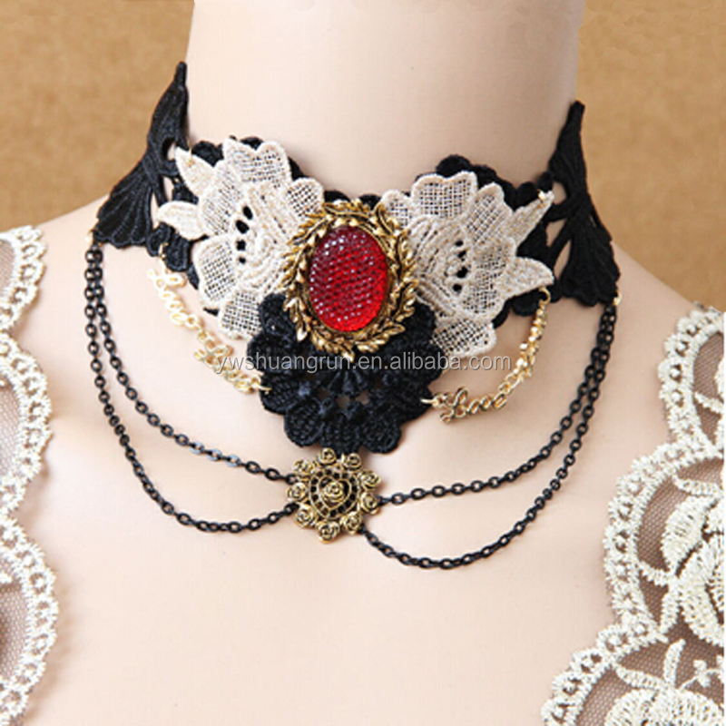 Queen style black flower necklaces,lace handmade collar necklace,girls lace evening gown necklace