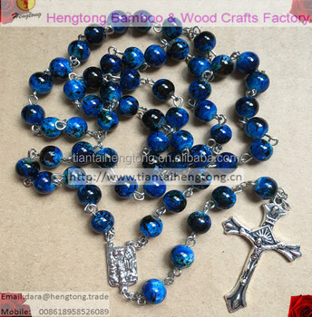 8MM baking varnished glass bead rosary, blue rosary necklace, pattern bead rosary