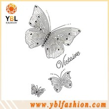 custom butterfly design low price crystal rhinestone applique