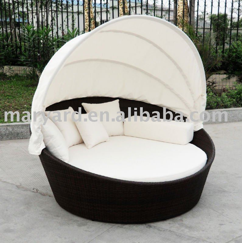 rattan runde outdoor lounge bett mit baldachin klappstuhl. Black Bedroom Furniture Sets. Home Design Ideas