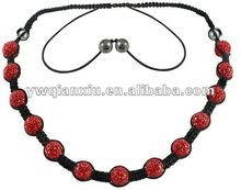 Wholesale Newest Hot Sale Siam Color Beaded Shamballa Handmade Necklace